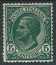 1906 REGNO EFFIGIE 5 CENT VARIETà DOPPIA STAMPA MH * - W151