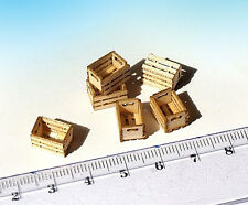 5 Miniature Wooden Crates Boxes HO O scale model train diorama dollhouse Built