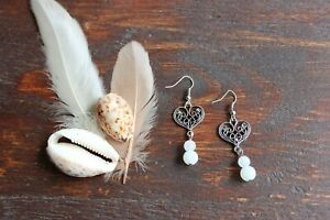 Pretty Handmade Silver Antique Heart & Glass Opaque Stone Bead Dangle Earrings