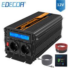 EDECOA Pur Sinus Convertisseur 12V 220V 1000W 2000W Onduleur transformer LCD USB