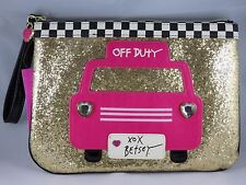 Betsey Johnson Gold Glitter Off Duty Checkered Taxi Cab Wristlet Clutch Pouch