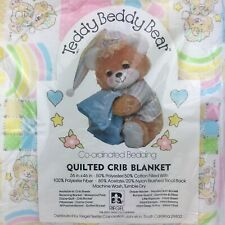 New listing Vintage 1980s Teddy Beddy Bear New Quilted Crib Blanket Riegel Patchwork Rainbow
