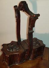 1880 ca. ANTICO BOX SCATOLA PORTAGIOIE AGHI NECESSAIRE LEGNO INCISO FORESTA NERA