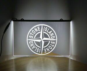 Stone Island Sign Light White LED Neon Light Home Bar Mancave Bedroom Light Gift