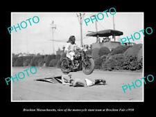 OLD LARGE HISTORIC PHOTO OF BROCKTON MASSACHUSETTS, MOTORCYCLE SUNT TEAM c1930