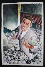 Business Man Standing on Skulls Painted Art - Signed art by Lan Medina