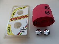 Vintage NOS Classic Colnago Pink Cork Bar Tape With Colnago Silver C Club plugs
