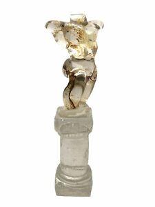 Slumped Crackle Art Glass Nude Male Torso Body On Column Sculpture