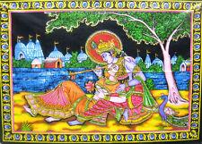 "Divine Lovers Radha Krishna Large Colorful Batik Wall Painting 30""x40"" Inches"