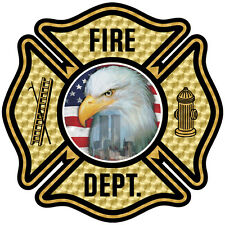 Firefighter Custom Decal, Sept 11, Never Forget, Eagle, Flag, Gold  #FD100