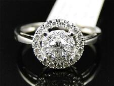 14K Ladies White Gold Round Diamond Solitaire Halo Bridal Engagement Ring 1/2 Ct