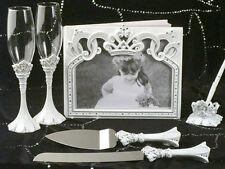 White Cinderella Tiara Wedding Toasting Glass Guest Book Pen Cake Serving Set