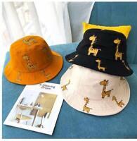 Kids Boys Girls Children's Bucket Hats Cartoon Giraffe Sun Hat Outdoor Beach Hat