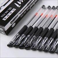 12x 0.5mm Schwarzer Gel-Tintenroller-Kugelschreiber für Schule Büroartikel/ K7H4