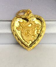 24K Solid Gold Cute Dragon Animal Sign Heart Shape Charm/ Pendant, 2.25Grams