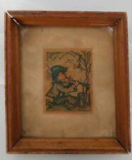 Vintage Mid-Century framed HUMMEL Print handmade wooden frame eclectic decor