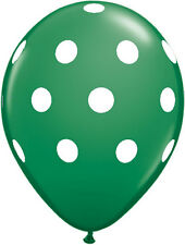 "10 pc - 11"" Qualatex Big Polka Dot Crystal Green Latex Balloon Party Decoration"