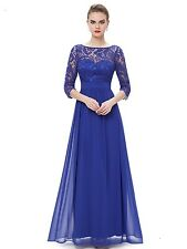 """JULIANA"" STUNNING SIZE 8 BLUE FRENCH LACE & CHIFFON EVENING GOWN DRESS - BALL"