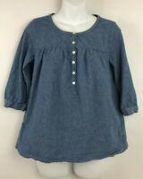 J Crew Factory Blue Chambray 3/4 Sleeve Peasant Cotton Boho Tunic Top Sz S
