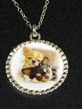 "Dog Chihuahua Puppies Charm Tibetan Silver with 18"" Necklace BIN"