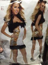 Sexy Teasing Tigress Women's Costume Dress Set with Tail Size Small
