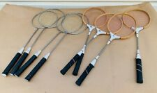 VINTAGE Lot of 8 BADMINTON Rackets Racquet Wood Tempered Steel Shaft Permalast
