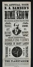 RARE 1880 Broadside - Bamber's Dime Show - Magic Lantern Electricity Sideshow