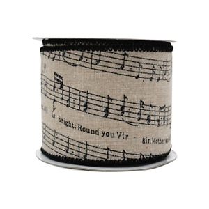2-1/2in 10YD Music Note Glitter Burlap Ribbon for Gift, Floral, Craft Use