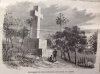 Monument To The Late Lord Brougham At Cannes, Antique Print 1869 Original