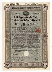 Germany, Dresden 8% Gold, 100 Goldmark = 35.842 g Fine-Gold, uncancelled, 1928