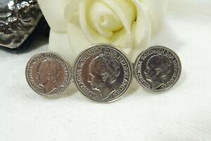 Vintage Queen Wilhelmina Netherlands Silver Coin Brooch 1937-1941