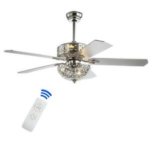 Zara 52 in. Chrome Filigree 6-Light Metal/Wood LED Ceiling Fan With Light