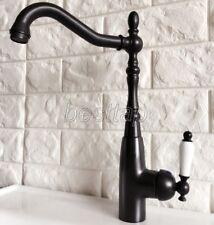 Black Oil Rubbed Brass Bathroom Kitchen Bar Vessel Sink Swivel Faucet Tap snf379