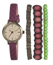 KAHUNA LADIES RED NARROW PU STRAP WATCH AND BRACELET SET - KLS0238LSTK