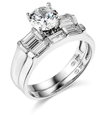 2.25 Ct Round Cut Engagement Wedding Ring Set Real 14K White Gold Matching Band