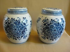 PAIR CERAMIC MAASTRICHT POTS WITH LIDS DELFT