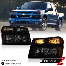 [SINISTER BLACK] 2004-2012 Chevy Colorado Bumper Signal Headlight Lamp 4PC Combo