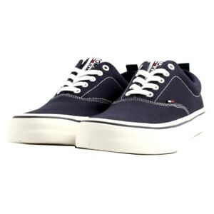 Shoes Sneaker Tommy Hilfiger Man Fabric Canvas Blue Jeans Rubber Sole White