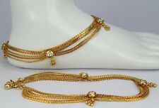 Indian Belly dance fashion jewelery Gold Plated 1 Pair Anklet/Payal polki Kundan