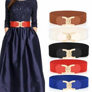 Women Elastic Belt Wide Gold Metal Buckle Belts Fashion Buckle Strap Waistbands