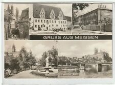 Ansichtskarte Meissen - Rathaus/Kändlerbrunnen/Dom/Porzellanmanufaktur/Dampfer