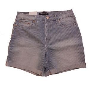 Calvin Klein Jeans Ladies' Rolled Cuff Denim Shorts New w/Tags (Blue Stripes, 6)