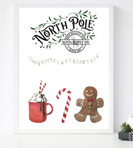North Pole CHRISTMAS Print Cookies Candy Cane Winter PICTURE A4 COLOUR WALL ART