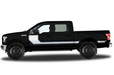 Vinyl Decal Wrap RALLY STRIPE for Ford F-150 15-17 MATTE WHITE SuperCrew 5.5 Bed