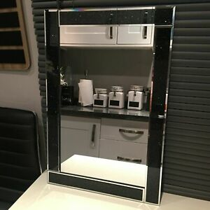 New Glamorous Black Sparkle Design Wall Glass Mirror Home Decor 60cm