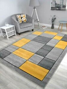 Modern Gold Mustard Ochre Rugs Small Extra Large Floor Carpets Soft Thick Carved