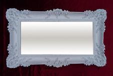 Barroco Antiguo espejo de Pared ORNAMENTACIONES Blanco Plata 96x57 NUEVO