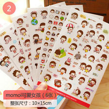 6pcs Korea Style PVC Sticker Kawaii DIY Scrapbook Diary Phone Decoration Sticker
