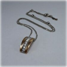 18ct White & Rose Gold Diamond Chimento Pendant