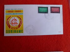 1966 SURINAME  I.C.E.M. FUND YELLOW 2 STAMPS  FDC 31ST JANUARY